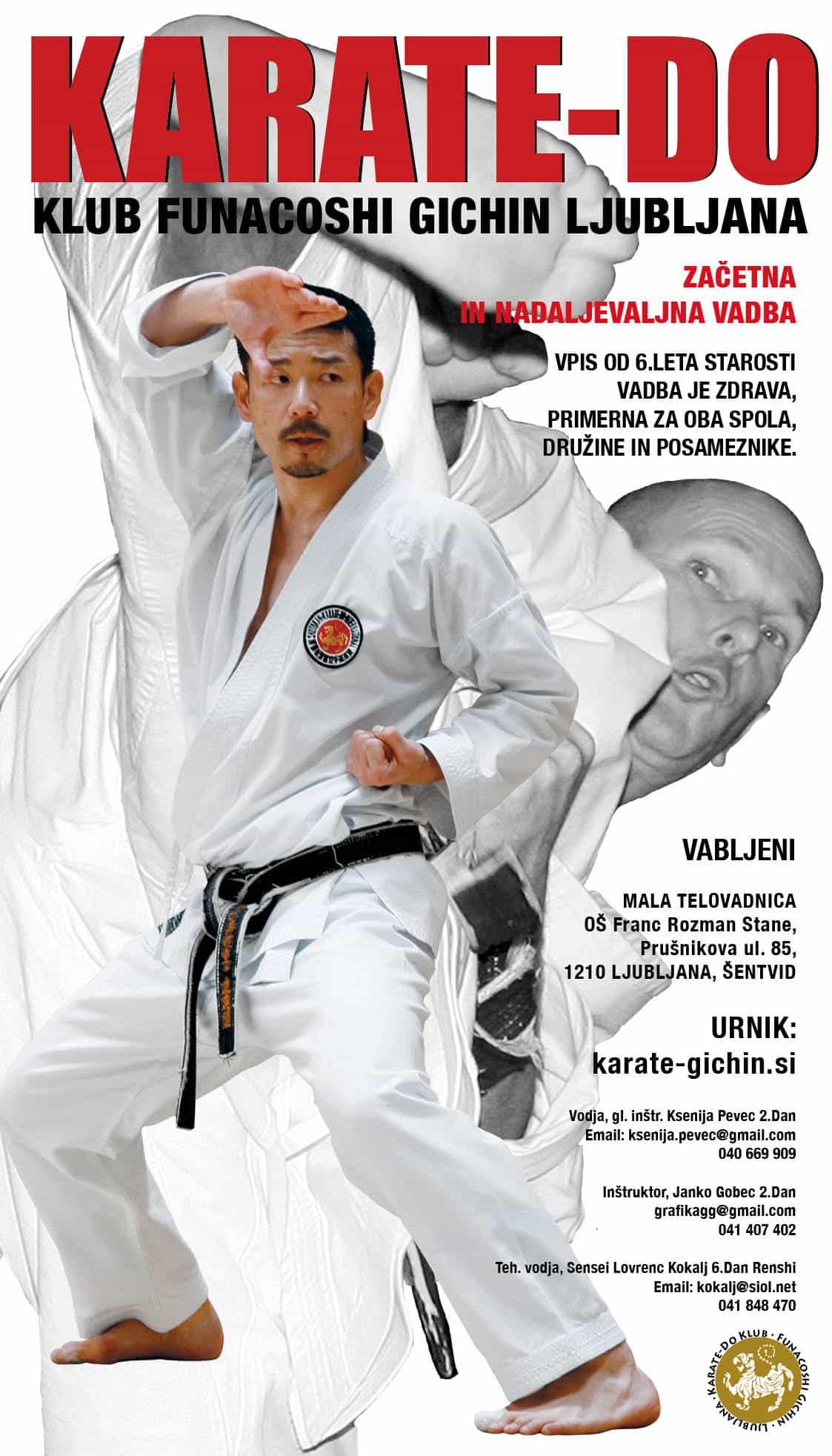 Funacoshi Gichin Ljubljana, plakat za vpis, leto 2017